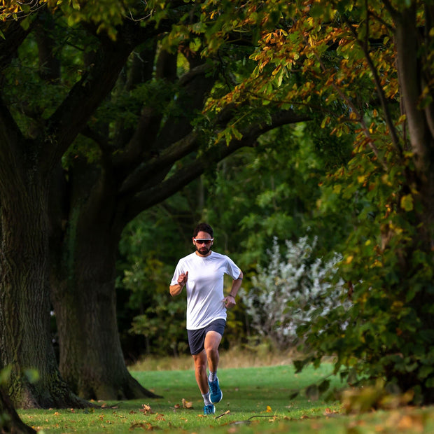 Man Running In Park Wearing Tea Male Fully Recycled and Recyclable Sports T-shirt