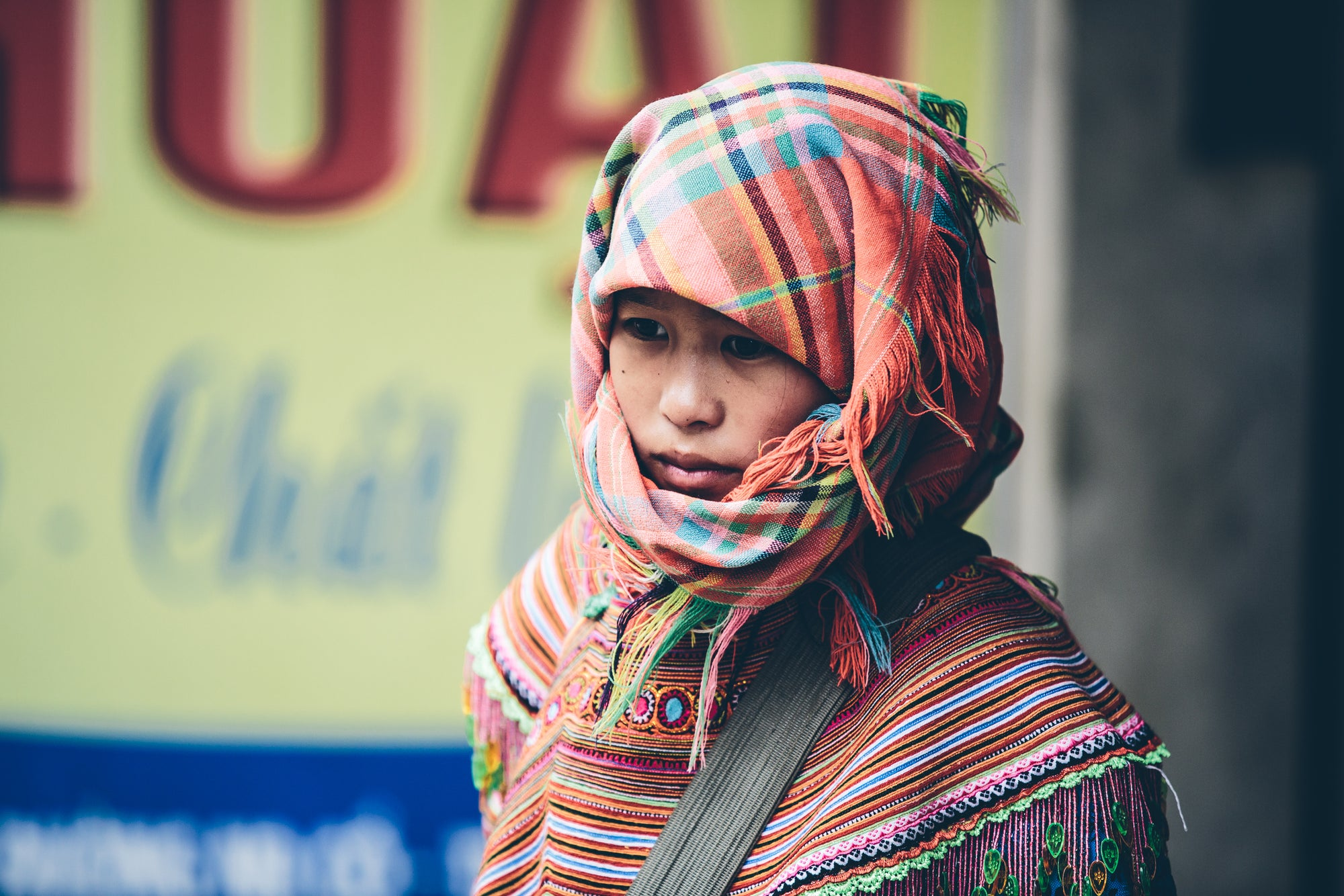 GIRL WITH HEAD SCARF