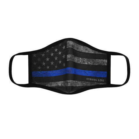 Blue Line Flag Fitted Polyester Face Mask
