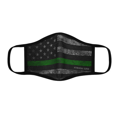 Green Line Flag Fitted Polyester Face Mask