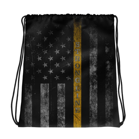 Gold Line Flag Drawstring bag