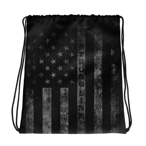 Distressed Flag Drawstring bag