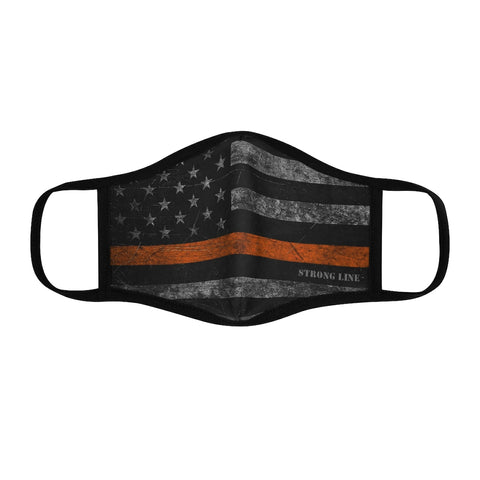 Orange Line Flag Fitted Polyester Face Mask