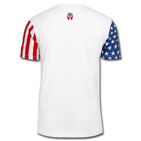 """United We Stand, Divided We Fall"" Stars & Stripes T-Shirt - white"