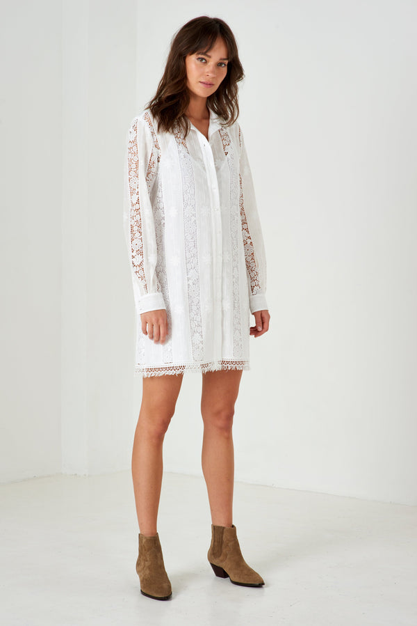 CHEMISE LONGUE CARLA BLANC COTON BRODEE