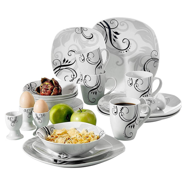 VEWEET ZOEY 20-Piece Porcelain Tableware Set Decal Pattern Dinnerware Sets with Dinner Plate,Dessert Plate,Bowl,Mug,Egg Cup