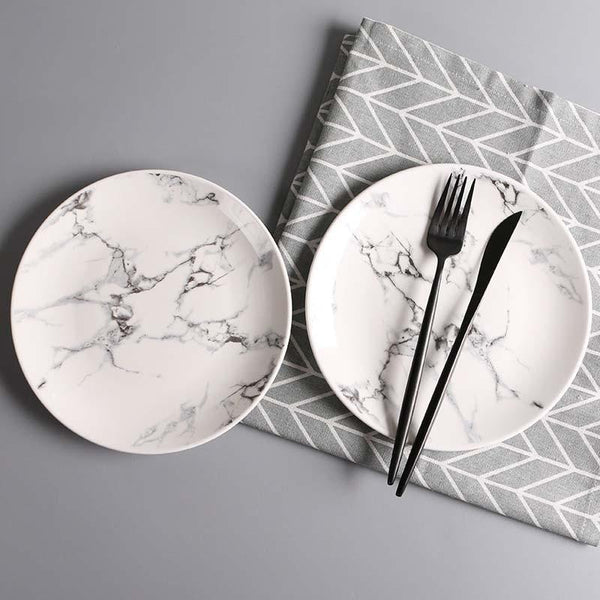 8 inch Round Marble Strip Ceramic Dinner Plates Tableware Wholesale Ceramic Dishes Dessert  Dinnerware Cake Dishes Plates Sets
