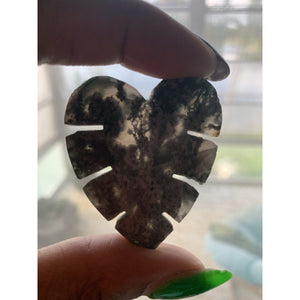 Moss Agate Monstera Leaf