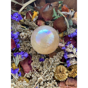 Aura Honey Calcite Sphere w/ stand