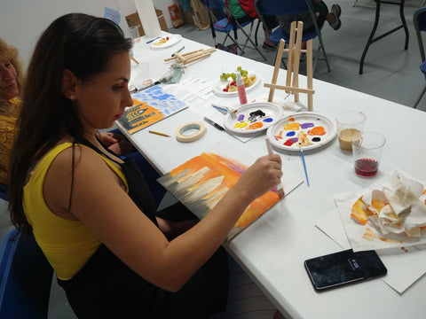 The City - Silhouette Art Painting and Wine for adults at AnetaArtClasses