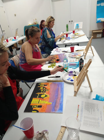 The City - Silhouette Art Painting and Wine for adults