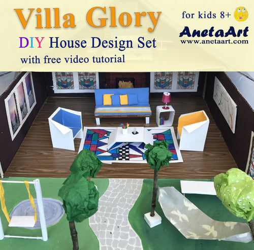 Villa Glory - DIY House Design Set. See your kids, design their own house! Unleash their power of imagination Let them roll their sleeves on and give shape to their dreams Let them become a Master Builders with this DIY House Design Set!