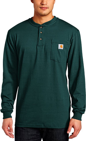 Carhartt Men's Long Sleeve Workwear Henley Shirt - Hunter Green