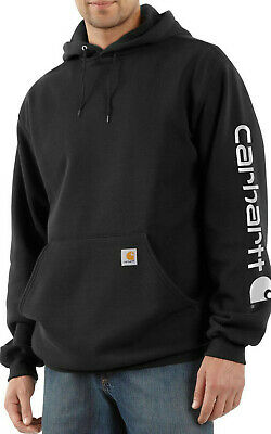 Carhartt Midweight Signature Sleeve Logo Hooded Sweatshirt - BLACK COLOR