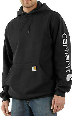 Carhartt Midweight Signature Sleeve Logo Hooded Sweatshirt Big - BLACK COLOR