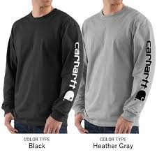 Carhartt Signature Sleeve Logo Long-Sleeve T-Shirt Big - BLACK and HEATHER GREY COLORS