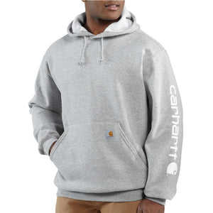 Carhartt Midweight Signature Sleeve Logo Hooded Sweatshirt Big - HEATHER GREY COLOR