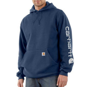 Carhartt Midweight Signature Sleeve Logo Hooded Sweatshirt - NAVY COLOR