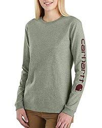 Carhartt 103401 Workwear Sleev Logo Long-Sleeve T-Shirt - TINTED SAGE HEATHER COLOR