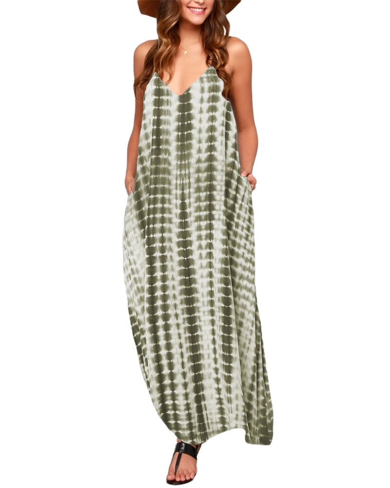 Tie dye Maxi Dress for Women Spaghetti Strap V Neck with Pockets Casual Holiday