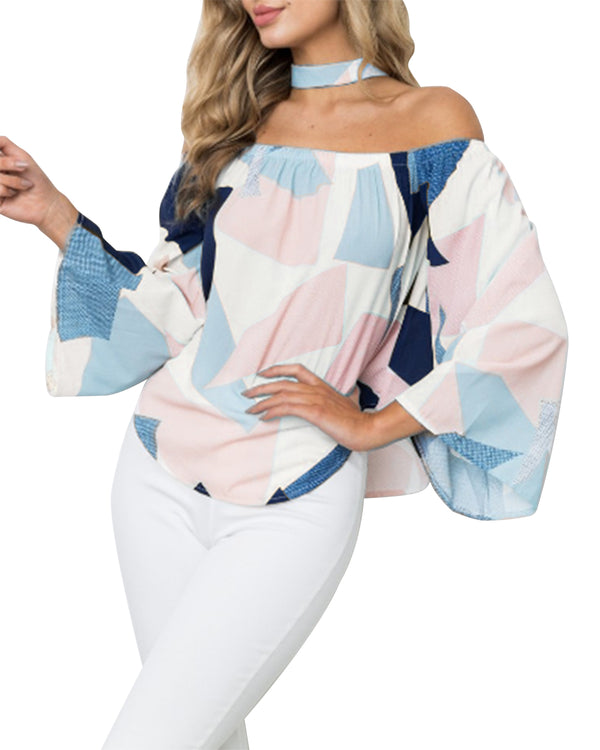 Women Floral Print Off Shoulder Chiffon Tops Ruffle Casual Summer T Shirt Tunic Blouse - Coendy