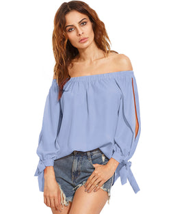 Women Tops Sexy Off Shoulder Blouse - Coendy