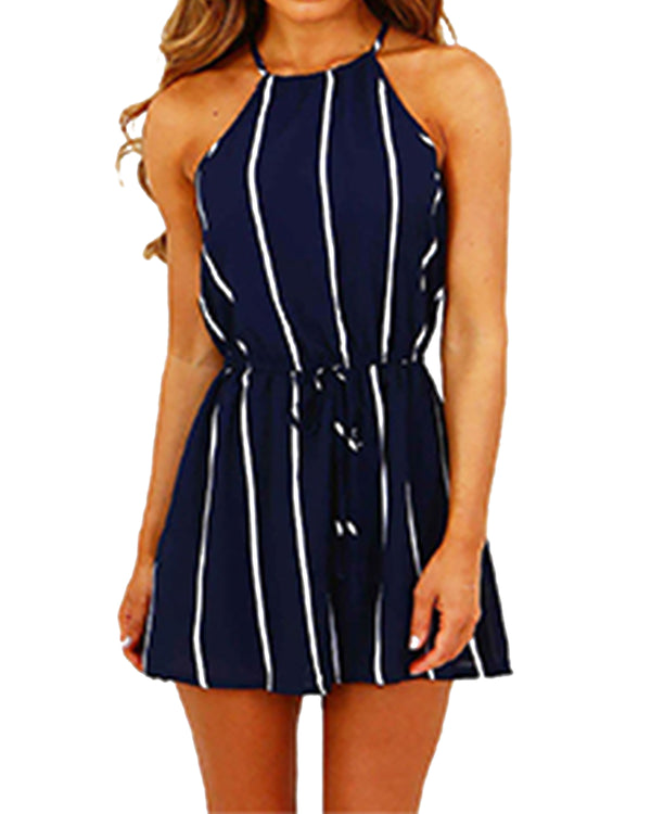 Women Sexy High-Waisted Stripe Romper - Coendy