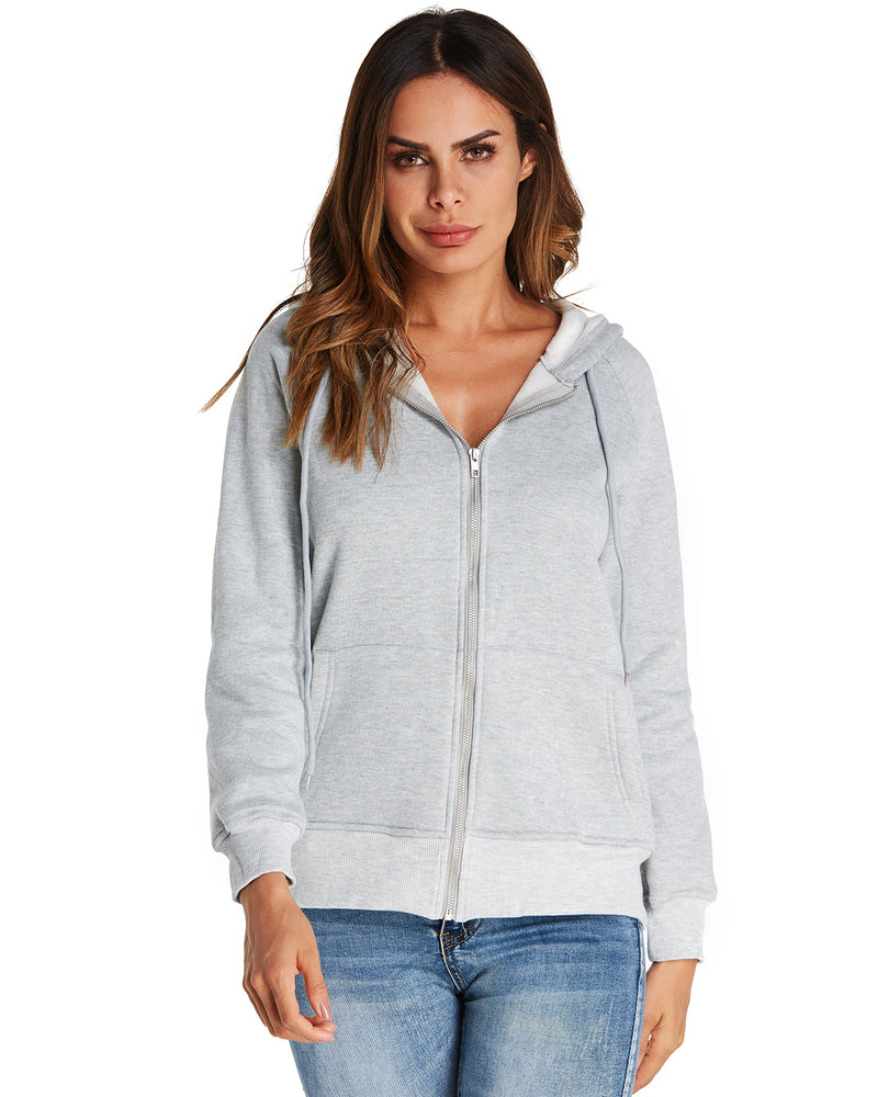 Women Solid Color Hooded Zip Up Coat Jacket - Coendy