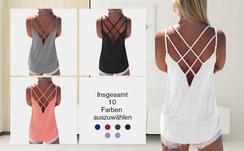 Women Criss Cross Back Hollow Top