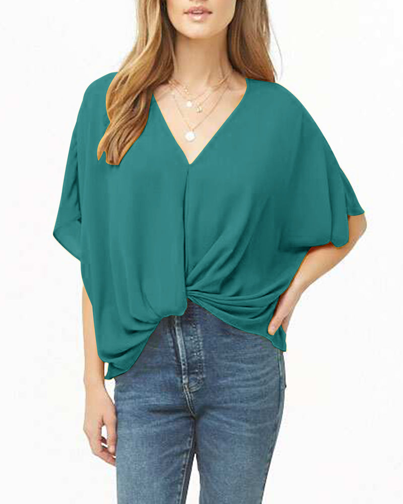 Women's V Neck Twist Knot T Shirts Short Sleeve Casual Pleated Loose Tunics Tops Plus Size