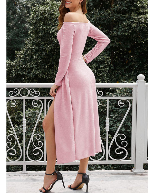 Women Cocktail Solid Color Formal Evening Dress - Coendy
