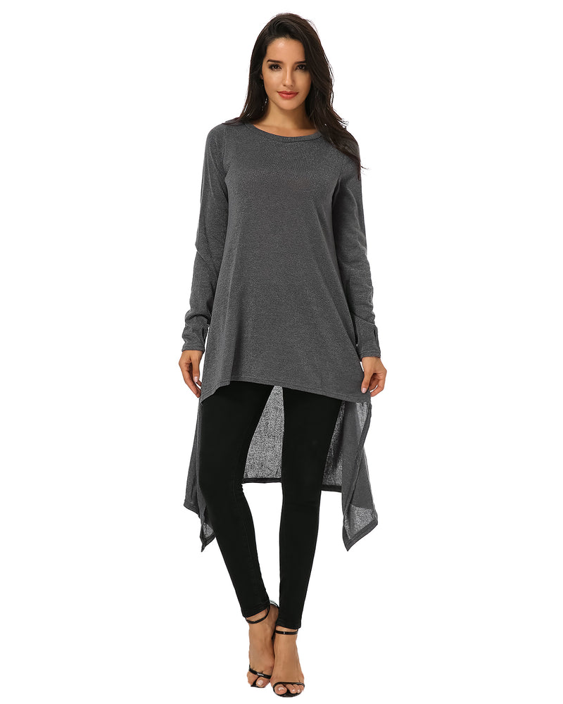 Women's Casual Irregular High Low Hem Loose Hoodie Sweatshirt