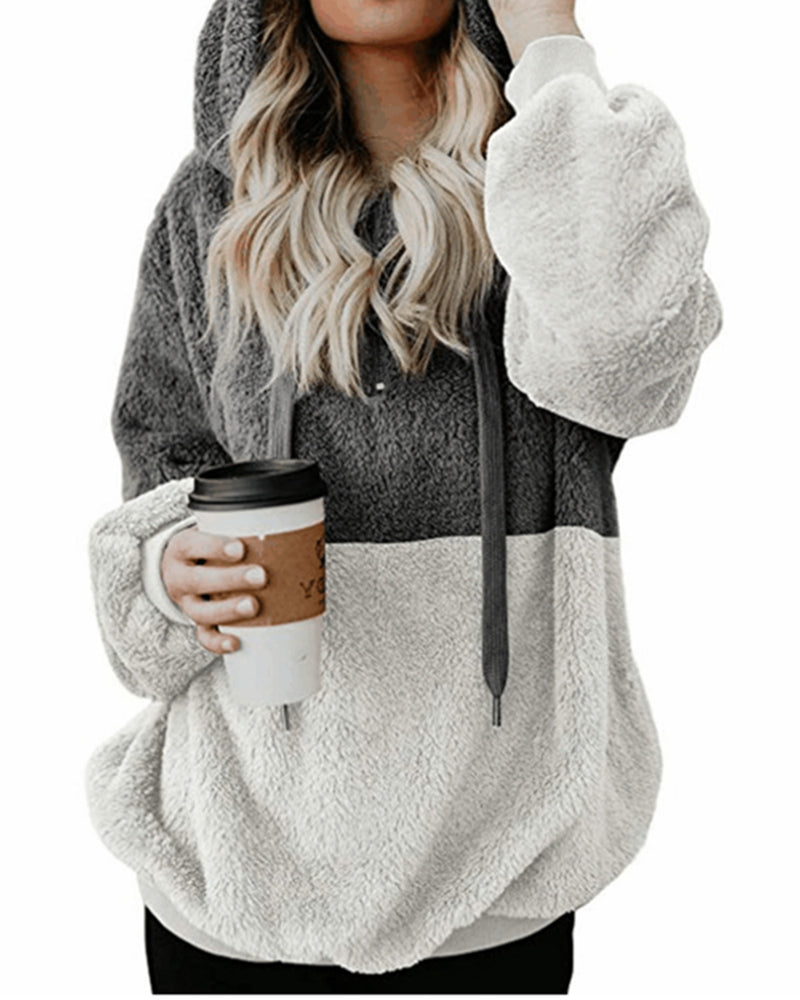 Women's Fuzzy Fleece Hoodie Long Sleeve Zip Up Sweatshirt