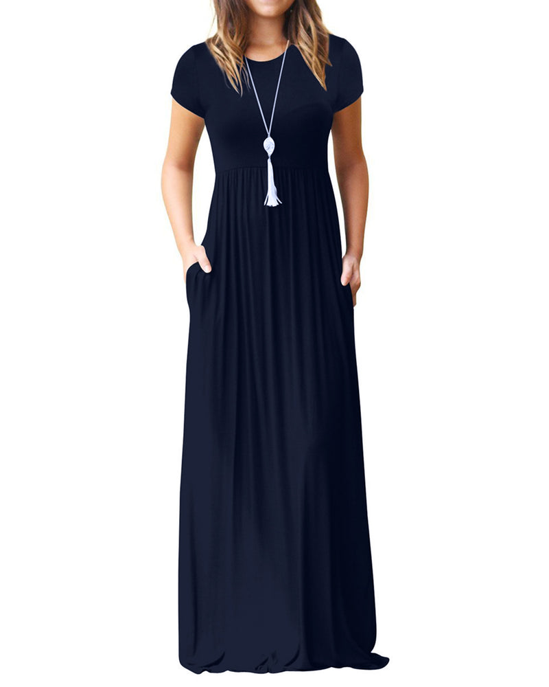 Women's Short Sleeve Midi Dresses Kaftan with Pockets