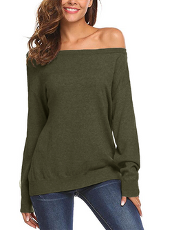 Women Long Sleeve Crewneck Solid Pullover - Coendy