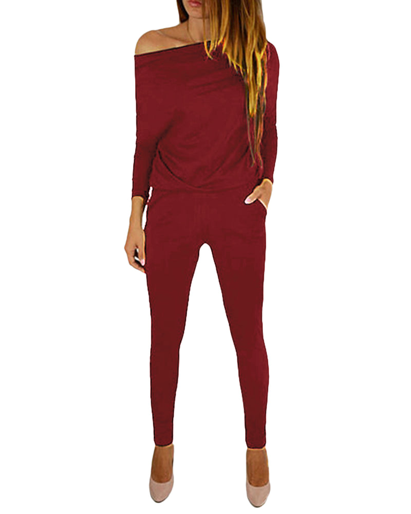 Long Sleeve  Off Shoulder Solid Drawstring Jumpsuits with Pockets