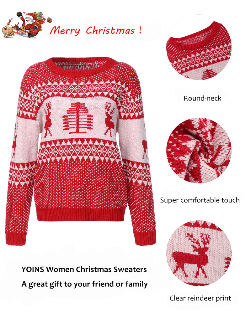 Women's Long Sleeves Round Neck Jumpers Christmas Knitwear Sweaters