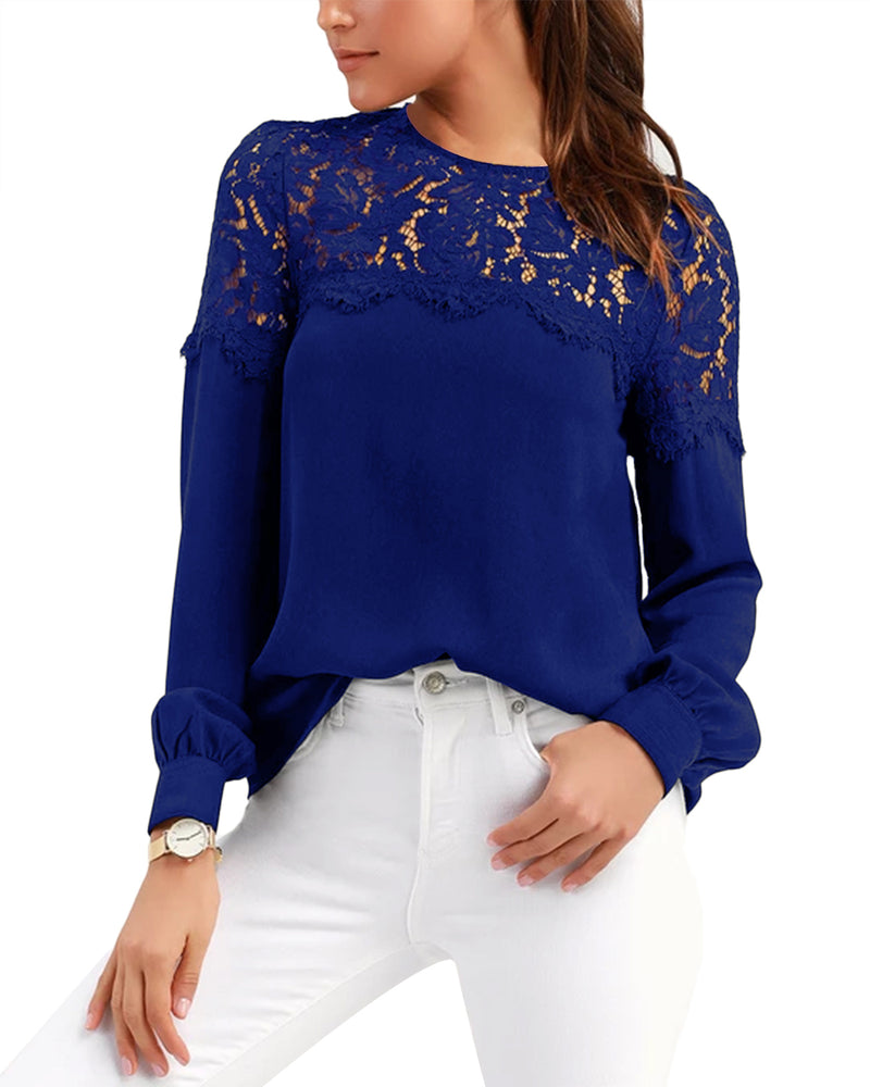 Womens Lace Blouses Long Sleeve Botton Down Shirts Tunic Crewneck