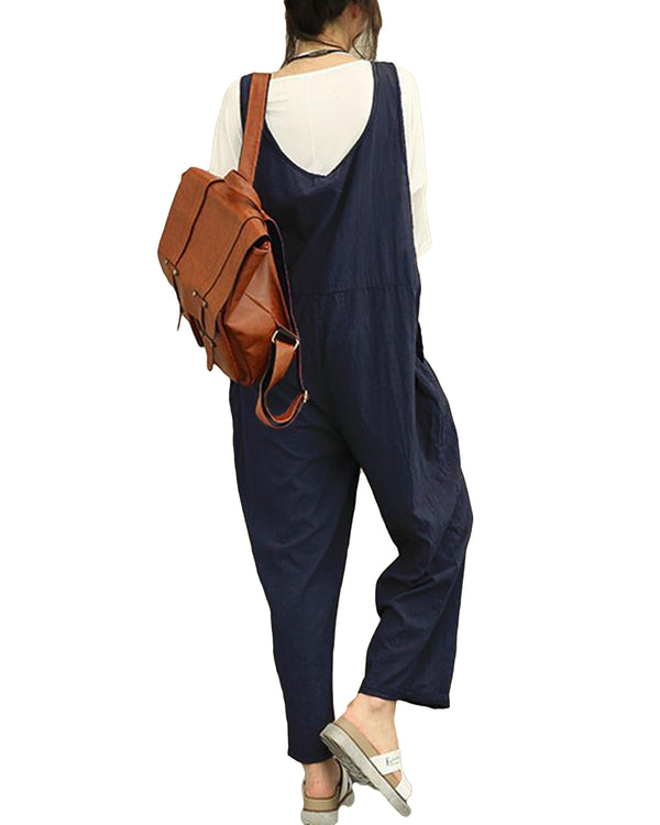 Women's Casual Jumpsuits Baggy Romper Sleeveless Wide Leg Pants with Pocket