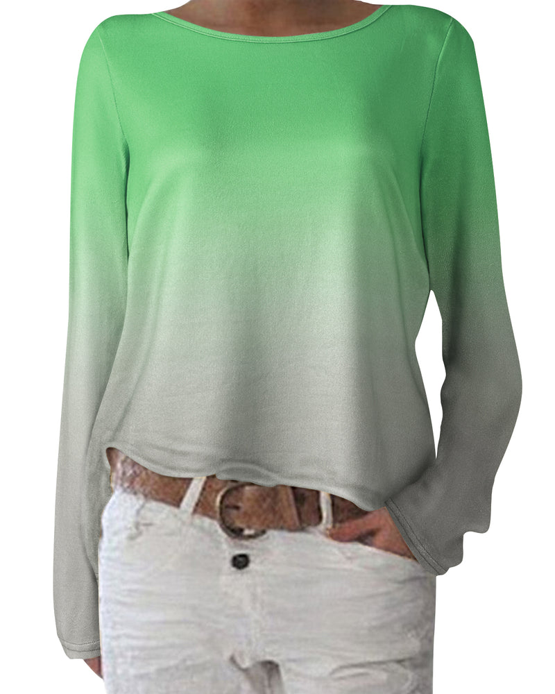 Women's Long Sleeve Casual Pullover Tops Crew Neck Loose Lightweight