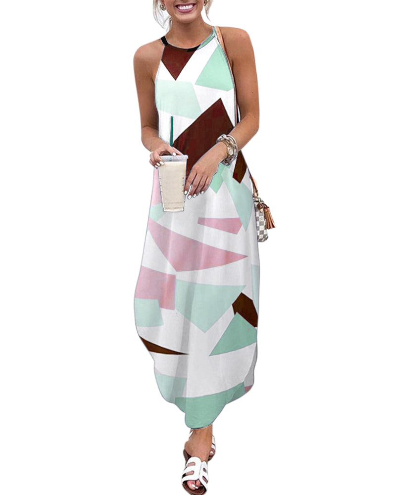 Women Summer Maxi Dress Sleeveless Loose Graphic Casual
