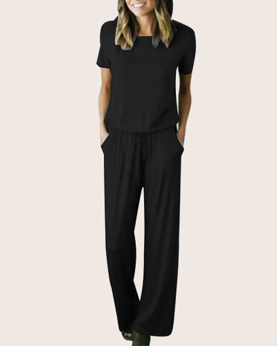 Womens Jumper Wide Legs Short Sleeve Jumpsuit with Pockets - Coendy