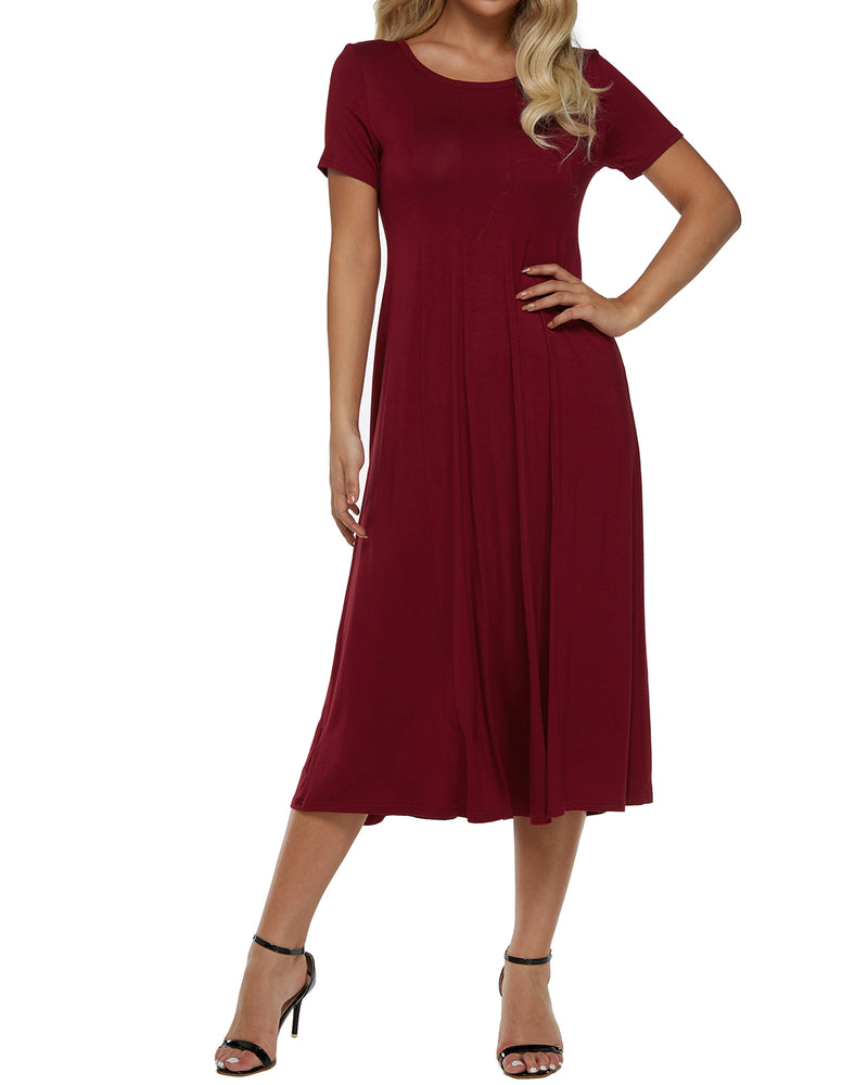 Women Solid Short Sleeve Ruffles Maxi Dress