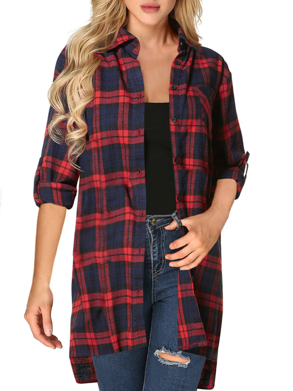 Street Fashion Flannel Plaid Shirt Buffalo with Pocket