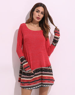 Long Sleeve T-Shirt Dress Patchwork Printed Knitted Round Neck Shirts