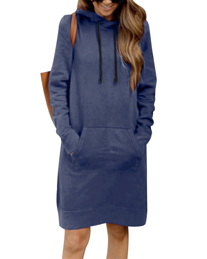 Women's Long Sleeve Hoodie Dress Solid Pullover Loose Sweater