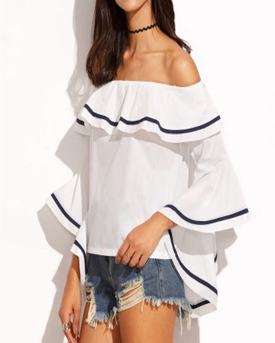 Women's Summer Off Shoulder Trumpet Sleeve Ruffled Collar Blouse Shirts - Coendy