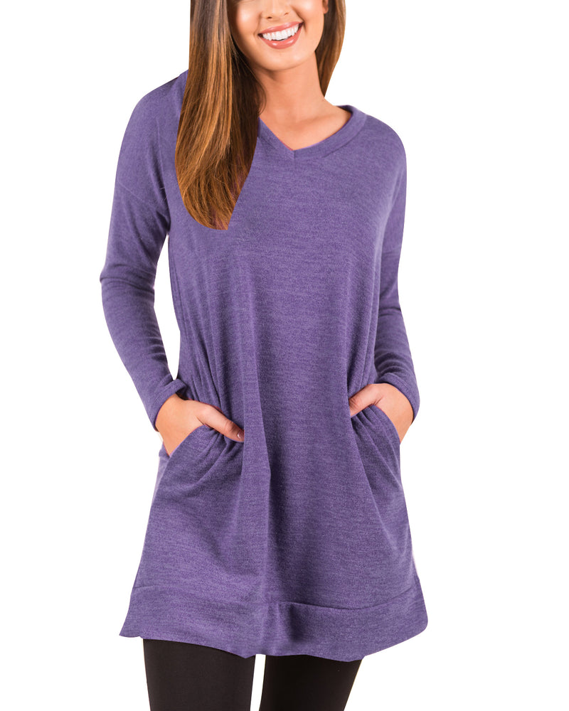 Womens Long Sleeve Casual T Shirts Round Neck