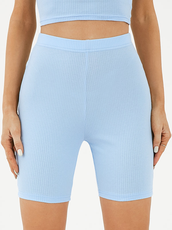 Women Casual High Waist Knit Slim Shorts
