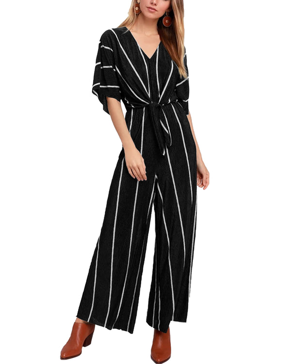 Women Stripe High Waist Tie Up Jumpsuit